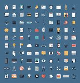 stock photo of computer  - Flat icons design modern vector illustration big set of various financial service items web and technology development business management symbol marketing items and office equipment - JPG