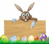 stock photo of ester  - An Easter bunny wooden sign with painted Easter eggs - JPG