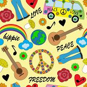 picture of hippies  - seamless background with bright accessories - JPG