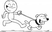 Smiling Man And Dog Running