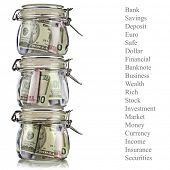 Tower of  Money jars full of savings. Business concept. Isolated on white background