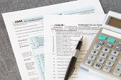 stock photo of income tax  - document photo of U S  income tax form - JPG