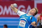 GOTHENBURG, SWEDEN - MARCH 3 Chiara Rosa (Italy)  places 4th in the women's shot put finals during t