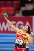 GOTHENBURG, SWEDEN - MARCH 3 Ursula Ruiz (Spain) places 8th in the women's shot put finals during the European Athletics Indoor Championship on March 3, 2013 in Gothenburg, Sweden.