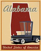 stock photo of alabama  - alabama road trip vintage poster  - JPG