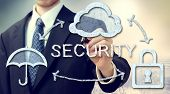 picture of safeguard  - Secure online cloud computing concept with businessman - JPG