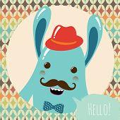 Hipster Retro Monster Card Illustration Geometric Background