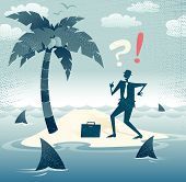 pic of sos  - Great illustration of Retro styled Businessman who has found himself stranded on a remote desert island with no chance of escape as he is circled by a group of hungry man eating sharks - JPG