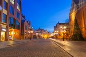 Old town of Elblag at night in Poland