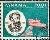 PANAMA - CIRCA 1966: A stamp printed in Panama shows Jules Verne (1828-1905), submarine Nautilus, circa 1966