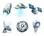 Space icon set on white, bitmap copy