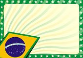 stock photo of brazilian carnival  - detailed modern background illustration with stars border and brazilian flag elements - JPG