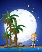 Illustration of a girl at the beach under the bright fullmoon