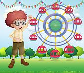 Illustration of a happy teenager near the ferris wheel