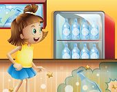 Illustration of a happy young girl inside the store selling sodas