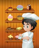 Illustration of a chef in front of the baked goodies