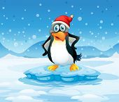 Illustration of a penguin wearing Santa's hat standing above an iceberg