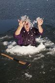 Man In Ice Hole Throw Ice