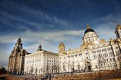image of liver  - The majestic skyline buildings of Liverpool comprising the Liver Building - JPG