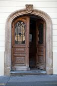Old wooden door in Upper Town of Zagreb, Croatia