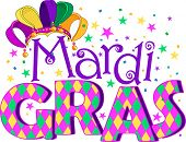 stock photo of jester  - Mardi Gras type treatment with jester hat - JPG