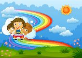 Illustration of the kids riding on a vehicle passing through the rainbow