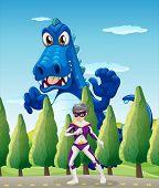 Illustration of a superhero and a giant crocodile
