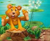 Illustration of a playful bear above the stump