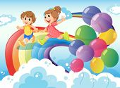 image of boy girl shadow  - Illustration of the kids playing with the rainbow in the sky - JPG