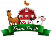 Illustration of the farm animals, a barnhouse and a signboard on a white background