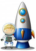 Illustration of an astronaut beside the airship on a white background