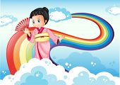 Illustration of a lady wearing a kimono standing near the rainbow