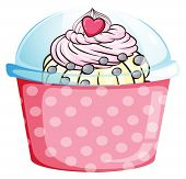 Illustration of a cupcake in a pink container on a white background