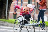 Krakow, Poland - May 28 : Cracovia Marathon. Unidentified Handicapped Man In  Marathon On A Wheelcha