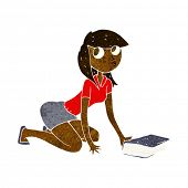 cartoon girl picking up book