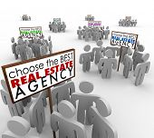 Choose the Best Real Estate Agency words on signs with agents or people around them