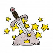 cartoon magical sword in stone