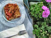 Dessert of rhubarb