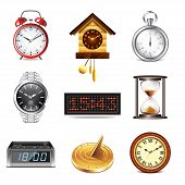 Different Clocks Icons Vector Set
