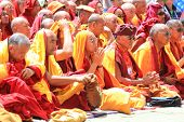 Leh, India - August 5, 2012: Unidentified Buddhist Monks And Lamas Attend His Holiness The 14Th Dala