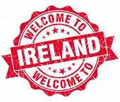 Welcome To Ireland Red Grungy Vintage Isolated Seal