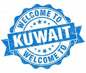 stock photo of kuwait  - Welcome to Kuwait blue grungy vintage isolated seal - JPG