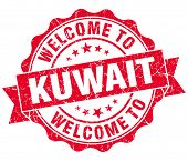 Welcome To Kuwait Red Grungy Vintage Isolated Seal