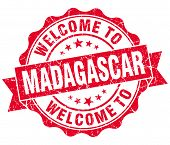 Welcome To Madagascar Red Grungy Vintage Isolated Seal