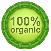 100% Organic. Abstract Green Label Isolated On White Background.