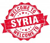 Welcome To Syria Red Grungy Vintage Isolated Seal