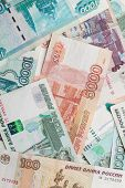 Russian Money Background. Rubles Banknotes Closeup Photo Texture