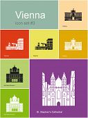 Landmarks of Vienna. Set of flat color icons in Metro style. Raster image.