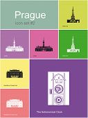 Landmarks of Prague. Set of flat color icons in Metro style. Raster image.