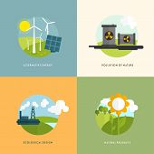 Ecology Concept Vector Icons Set for Environment, Green Energy and Nature Pollution Designs. Flat Style.
